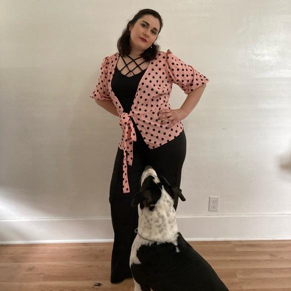 SHEIN Other - Pink polka dot blouse/black flare bottom pants.
